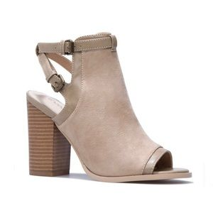 Faux-Suede Taupe Open Booties Size 11, NIB
